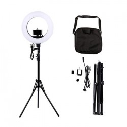 "Lampa Circulara LED Photo Studio, Make UP cu Suport Telefon, (aparat Foto), Stativ (Trepied) si Oglinda Cadou Ring Lamp 18"" - 50W si 480Leduri"
