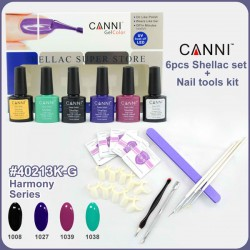 Kit Complet Oja Semipermanenta 6 Oje CANNI cu Top Coat, Base Gel + Accesorii